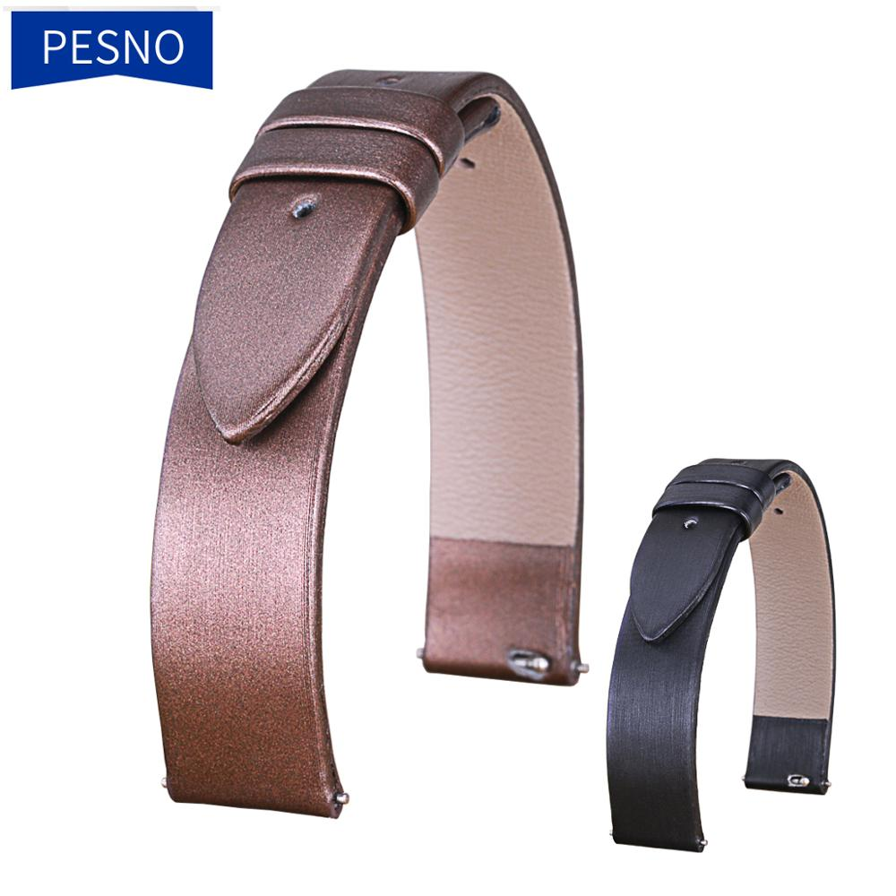 PESNO Suitable for PIAGET ALTIPLANO Women Ultra-thin Spun Silk Watch Band Genuine Leather Replacement Watch Straps 12mm 14mm