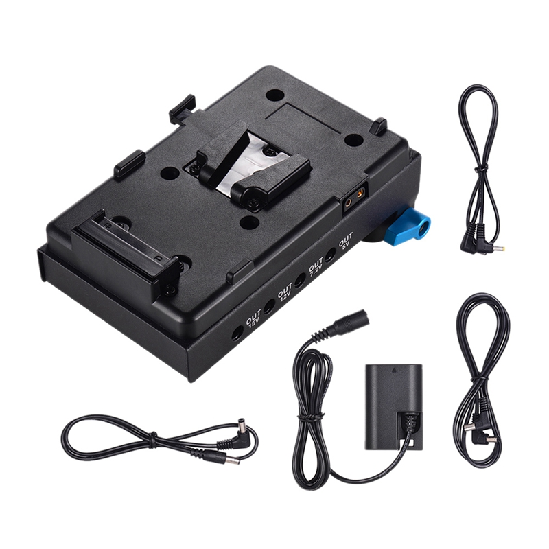 V Mount V Lock Battery Plate Adapter with 15Mm Dual Hole Rod Clamp LP E6 Dummy Battery Adapter for BMCC BMPCC Canon 5D2/5D3/5D4/|AC/DC Adapters| |  -