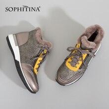 سوفيتينا جلد طبيعي المرأة الشقق الدافئة الصوف حذاء كاجوال الدانتيل متابعة خارج الراحة 2020 جديد مقاوم للماء الشتاء أحذية ثلج PC349