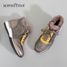 SOPHITINA Genuine Leather Women Flats Warm Wool Casual Shoes Lace Up Outside Comfort 2020 New Waterproof Winter Snow Shoes PC349