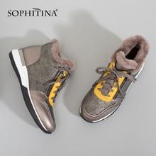 SOPHITINA en cuir véritable femmes chaussures plates chaud laine chaussures décontractées à lacets extérieur confort 2020 nouveau imperméable hiver neige chaussures PC349