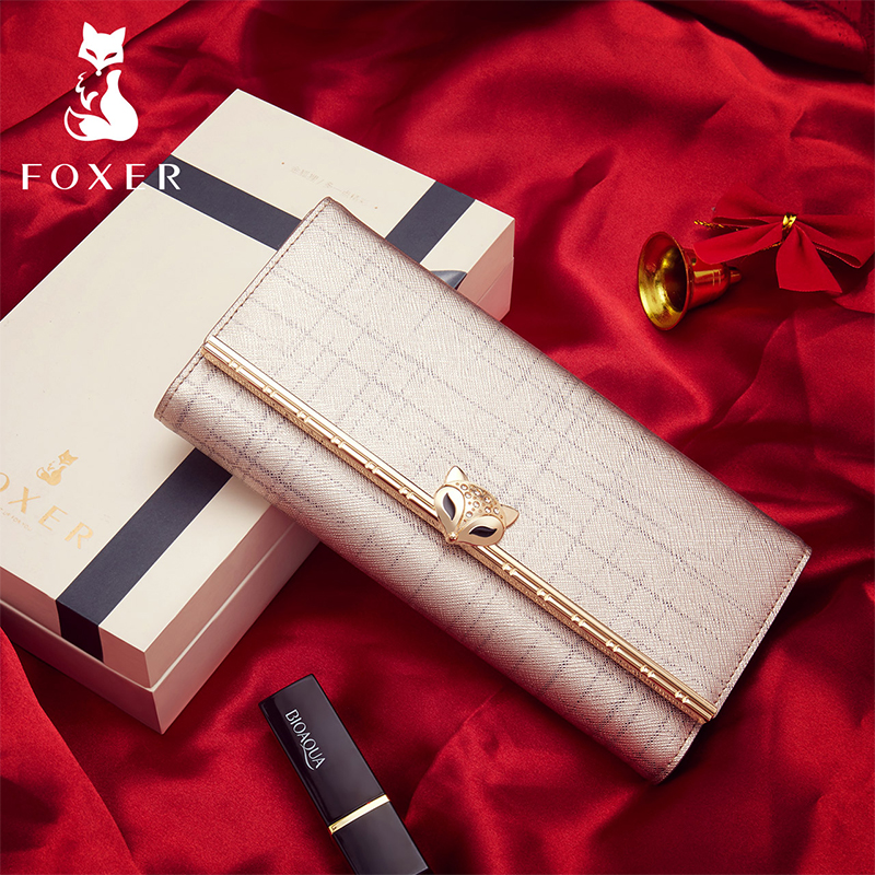 FOXER Brand Women's Split Leather Long Wallets Lady Luxury Clutch Bag Coin Purse Female Fashion Credit Card Holder For Women