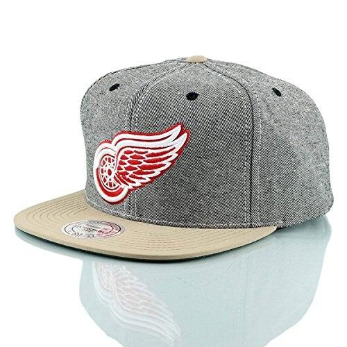Mitchell & Ness Detroit Red Wings Denim Caqui Snapback NHL casquette Gorra, casquettes de baseball, casquette pour homme, casquette pour femme, seau, hip hop