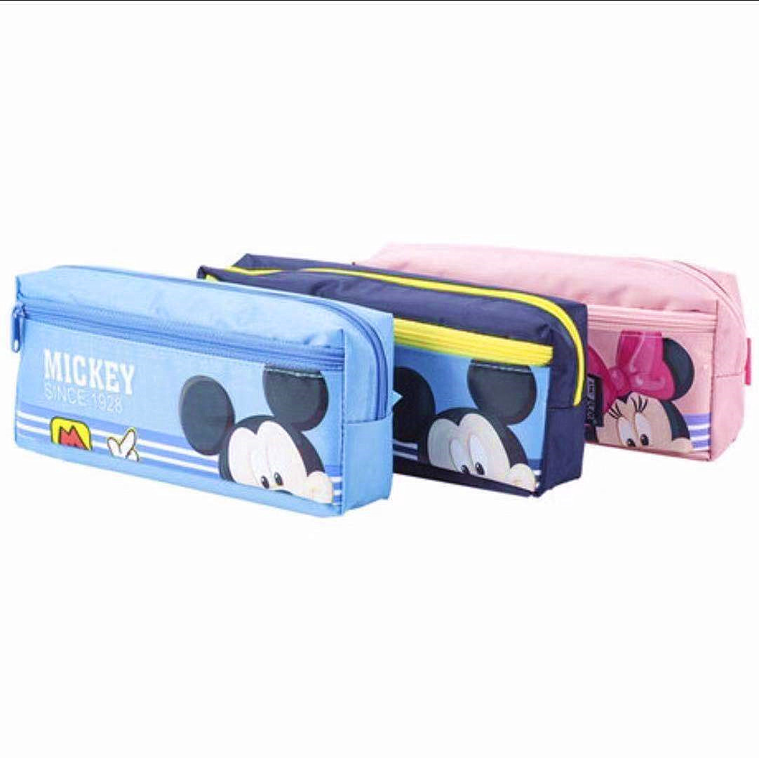 Disney Simple Stationery Bag Pencil Case Mickey Minnie Cartoon Large Capacity Cute Pencil Pouch School Supplies