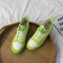 Green High Top Canvas Shoes Women Sneakers New Korean Wild Thick Bottom Lace Up Womens Woman Trainers