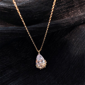 14K Gold Water Drop Lab Diamond Pendant Real 925 Sterling Silver Party Wedding Pendants Necklace For Women moissanite Jewelry