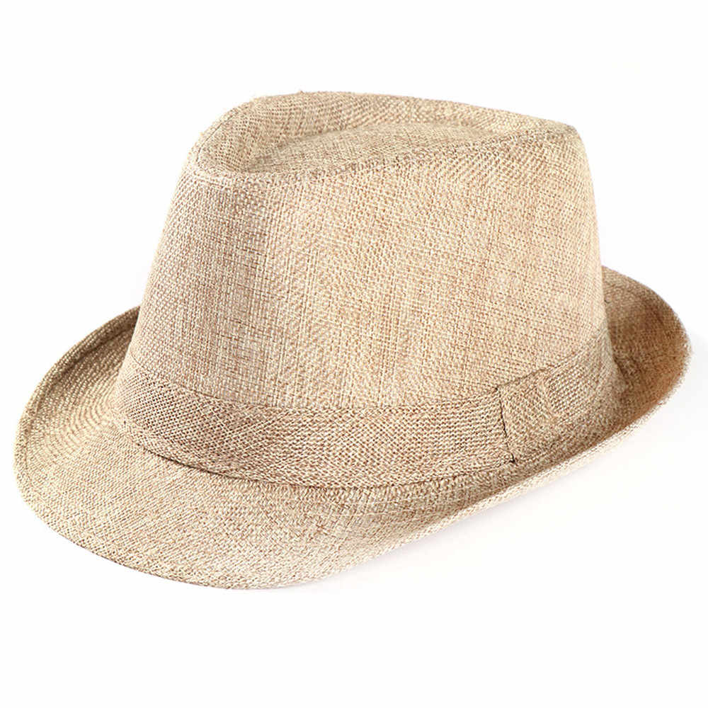 Cool Unisex Trilby Gangster Cap Breathable Beach Sun Straw Hat Band Sunhat Solid Casual Fedoras casquette #YL5