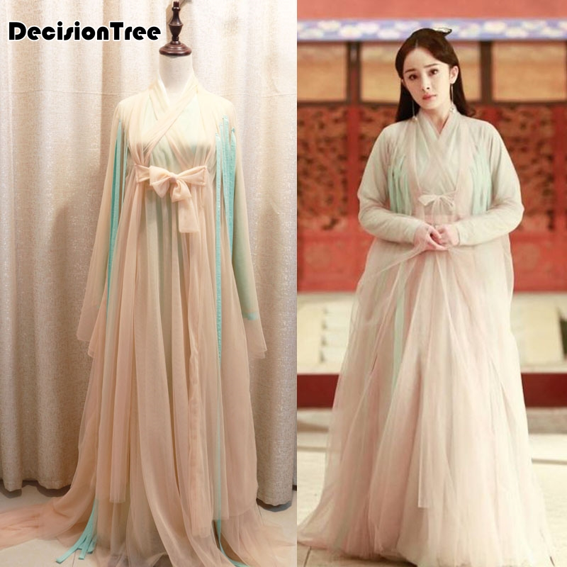 2020 Ancient Chinese Costume Traditional Chinese Dance Clothing Long Sleeve Hanfu Satin Robe Dress Qing Dynaste Cosplay Tv Show