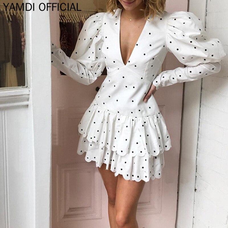 YAMDI piste à pois femmes robe femme dame automne à manches longues blanc Mini robes col en V profond bouffée Chic mode 2019 Vestido