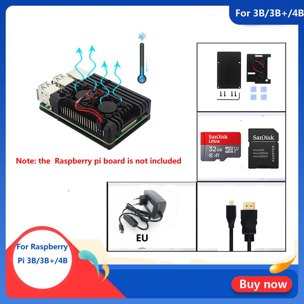 Raspberry Pi 3B/3B+/4B Armor Aluminum Alloy Case With 32GB SD Card+5V 3A Power + HDMI For Raspberry Pi 3B/3B+/4B Free Shipping