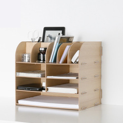 Fashion Color Office Desk Organizer Wooden Document File Cabinet Table Accessories Organizer Desk Set