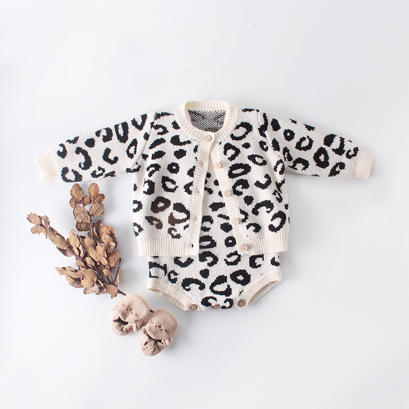1799 0-2 Year Newborn Infant Girl Knitted Cardigans Coat Tops Sling Bodysuit Leopard Girls Bodysuit Baby Girl Clothes Rompers Ползунки