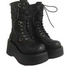 Gothic  kawaii girl sweet lolita shoes vintage round head Flat Platform Shoes women shoes cute bandage kawaii snow boots loli