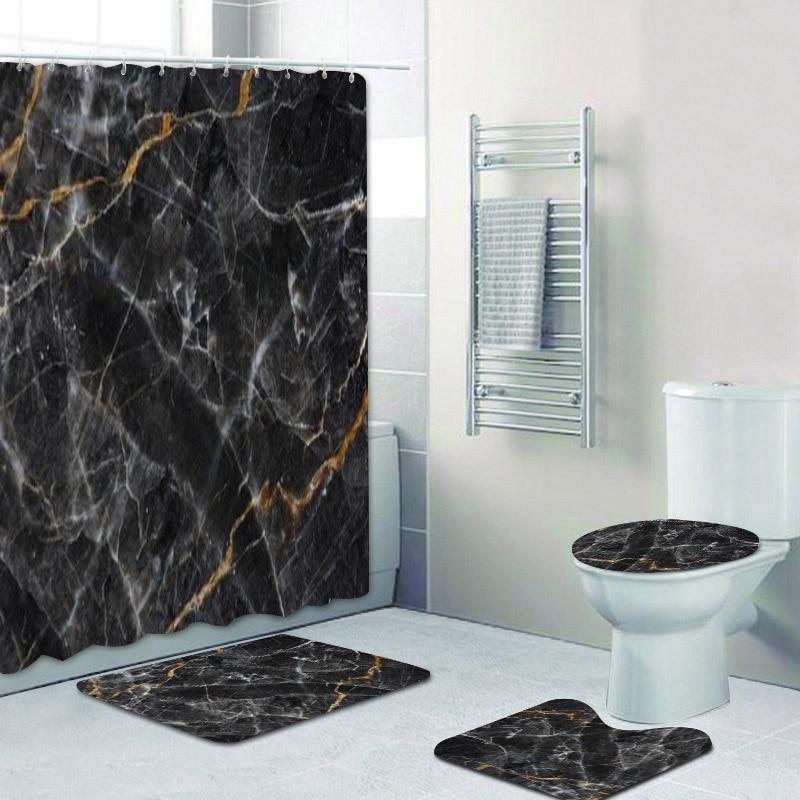 Hot Black Gold Marble Bathroom Shower Curtain Mat Set Non Slip Rugs Carpet For Bathroom Toilet Bath Bathroom Accessories Decor Shower Curtains Aliexpress
