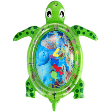 Baby Inflatable Water Mat Sea World Turtle Shape Infants Tummy Time Play Mat Baby Fun Play Activity Center
