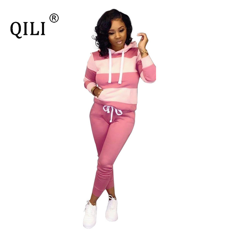 QILI 2019 Womens Autumn Winter Jumpsuits Long Sleeve Hoodie Two Piece Set Top And Pants Office Lady Sets Plus Size 3XL