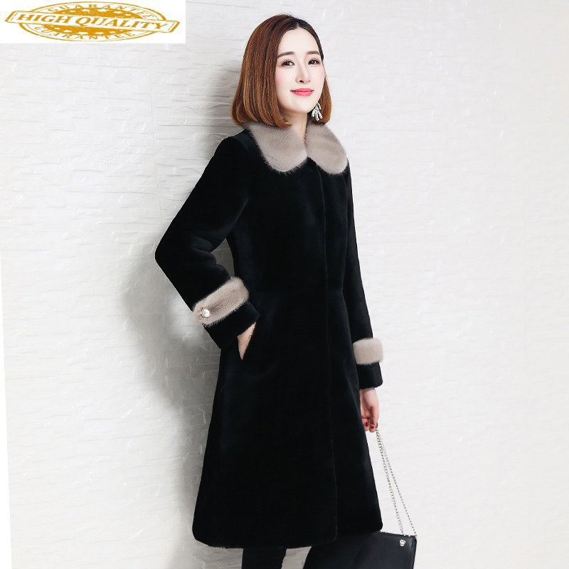Double Faced Fur Coat Female Sheep Shearling Fur Winter Jacket Women Mink Fur Collar Real Wool Coats Korean Outwear MY