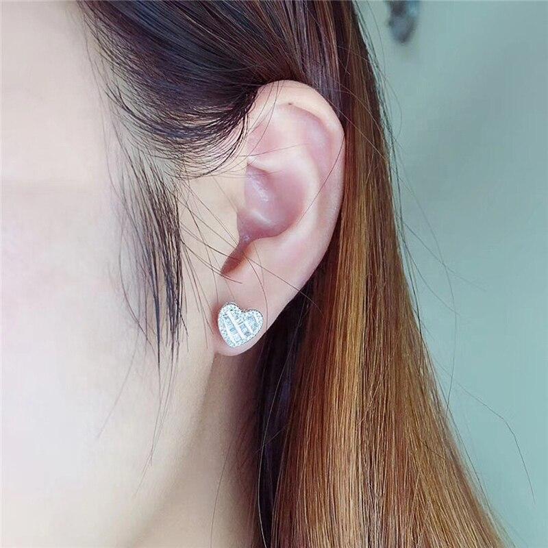 Huitan Hot Selling Fine Heart Stud Earrings Women Shiny CZ Best Gift for Lover Wedding Bridal Earrings Fashion Jewelry Wholesale