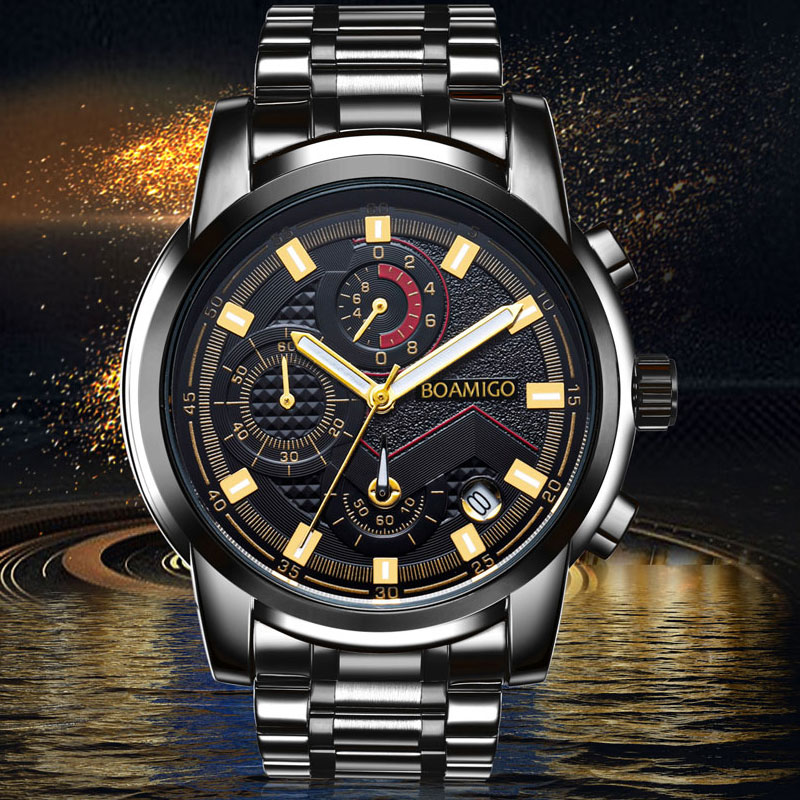 Watches Men Luxury Top Brand BOAMIGO Chronograph Men Sports Watches Waterproof Full Steel Man Dress Fashion Quartz Men's Watch