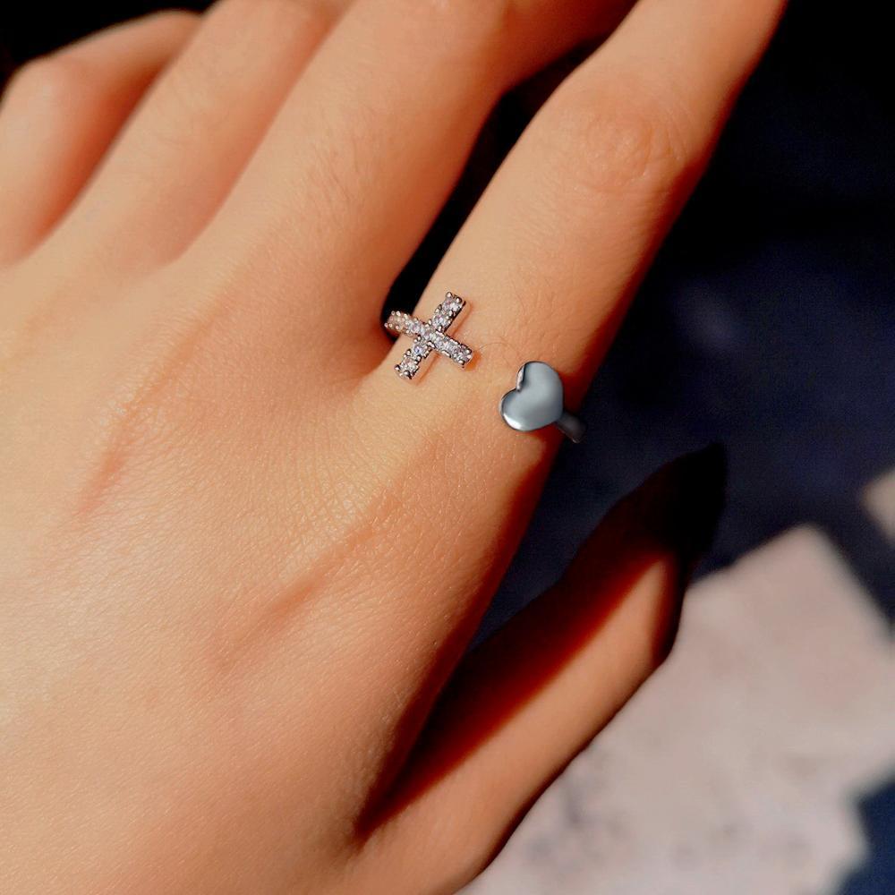 1 шт., регулируемое кольцо серебряного цвета со стразами