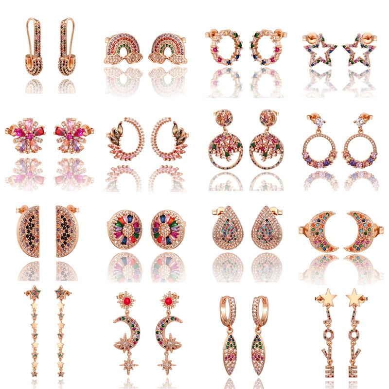 2020 New Rainbow Zircon Stud Earrings Jewelry For Women Gold Rose Cz Earrings Star Love Smile Circle Flower Earrings Best Gift
