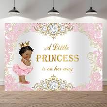NeoBack różowy srebrny księżniczka czarny biały Baby Shower tło królewski niebieski korona diamentowa chłopiec dziewczyna urodziny Photocall Banner