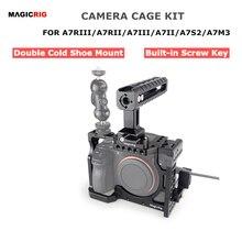 Magicrigdslr هيكل قفصي الشكل للكاميرا مع مقبض الناتو + HDMI مشبك كابلات لسوني A7RIII /A7RII /A7II /A7III /A7SII DSLR قفص طقم وصلة الرموش