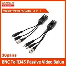 10 paia/lotto Ad Alta Definizione BNC a RJ45 Passive Power Video + Audio Balun Transceiver CCTV CCTV di Sicurezza Della Macchina Fotografica BNC (Maschio)