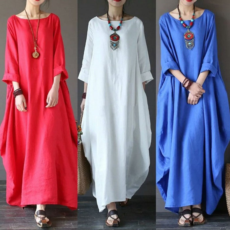 Hot Women Boho Long Dress Big Hem Solid Color Baggy Crew Neck Casual Dress for Summer CGU 88