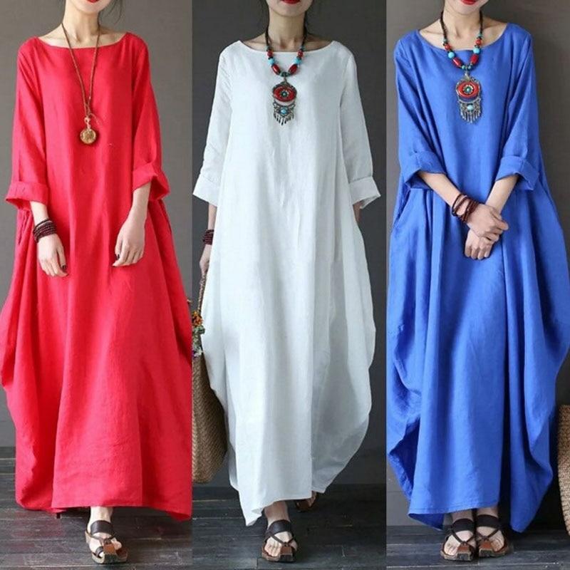 Hot Women Boho Long Dress Big Hem Solid Color Baggy Crew Neck Casual Dress for Summer CGU 88