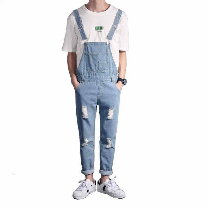 แฟชั่นบุรุษ SLIM FIT ยาว DENIM Overalls Suspender Ripped กางเกงยีนส์ Hip Hop Casual Rompers กางเกง Man Jumpsuit ใหญ่ขนาด