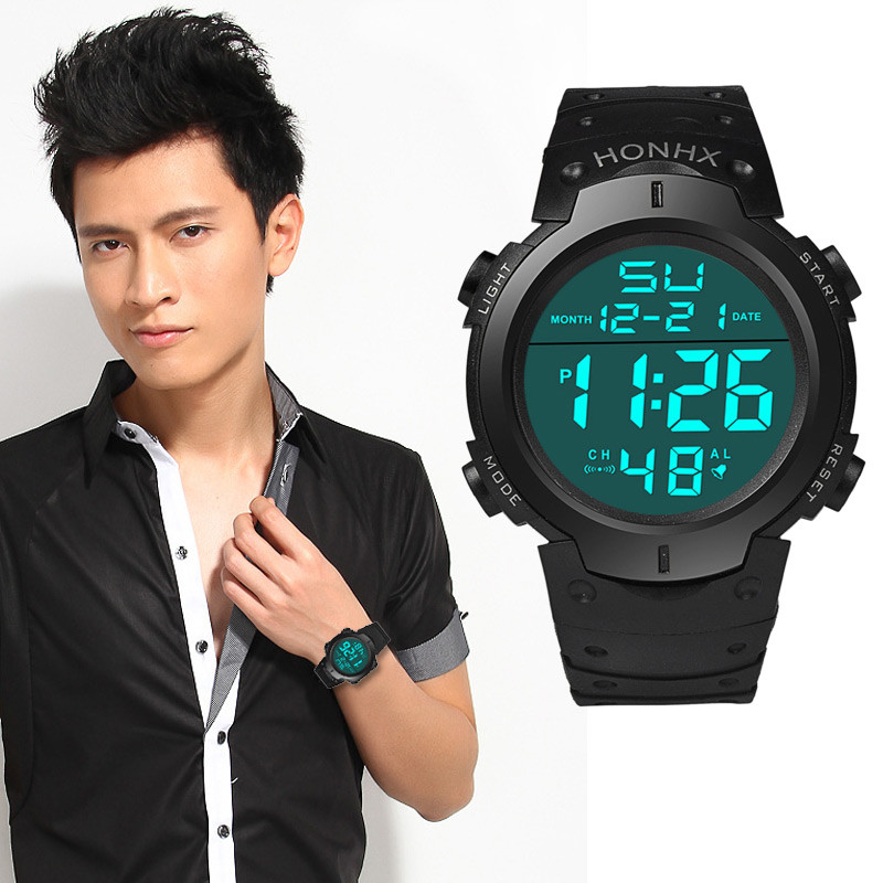 Men Fashion New Luxury Waterproof Men's Boy LCD Digital Stopwatch Date Rubber Sport Wrist Watch Dress Relojes Para Mujer #D