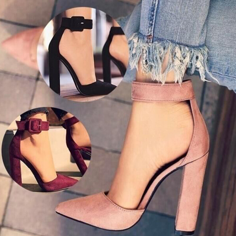 Fashion Ladies High Heels Female Zapatos Mujer Pointed Toe Pumps Women Shoes Woman Party Ankle Strap Pumps 2020 Summer Sandals