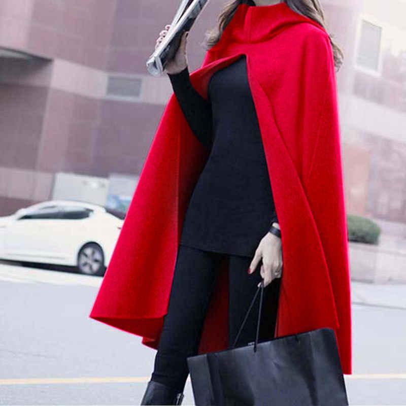 ฤดูใบไม้ร่วงและฤดูหนาวเสื้อผ้าผู้หญิงพลัสขนาดสีแดงสีดำขนสัตว์เสื้อคลุมเสื้อใหม่ Hooded Woollen Cape เสื้อคลาสสิกผ้าคลุมไหล่ที่อบอุ่น robe f1456