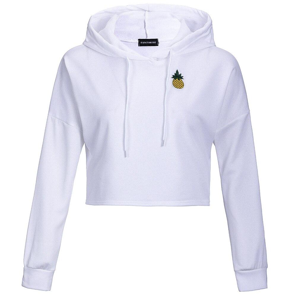 Long Sleeve Womens Ladies Spring Autumn Fashion Short Loose Sweatershirt Pineapple Applique Hoodie SweaterShirt