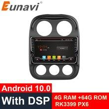 جهاز Eunavi بشاشة مقاس 9 بوصات يعمل بنظام أندرويد 10.0 مزود براديو 2 Din ونظام تحديد المواقع وستيريو سيارة جيب كومباس باتريوت راديو 2007 2016 وواي فاي 4G + 64G RK3399