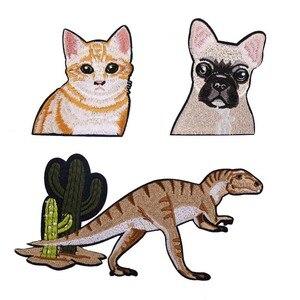 Большая вышивка, большой патч для кошек, собак, динозавров, животных, мультфильм, патчи для сумки, бейджи, аппликация, патчи для одежды, VP-879