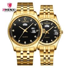 Luxury Gold Steel Couple Watches CHENXI Brand Women&Men Business Dress Watch Sytlish Rhinestone Lovers Quartz Clocks Waterproof