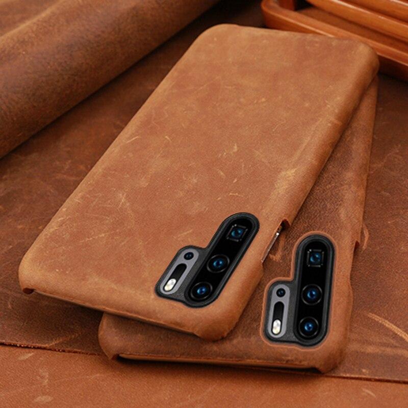 Peau de vache pour Huawei P20 P30 lite Mate 20 30 Pro couverture de peau de cheval fou Y6 Y9 2018 P Smart 2019 pour Honor 7A 7X8 9 10 lite