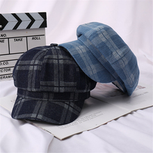 Painter's-Hat Caps Octagonal-Caps Spring Plaid Cowboy Vintage Women Summer And Washed