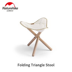 Naturehike Ultralight Canvas Folding Stool Solid Wood 100kg Bearing Weight Triangle Small Chair Outdoor Portable Travel Picnic