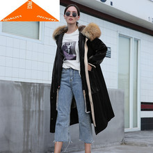 Real Female Winter Natural Rabbit Liner Jacket Large Fox Fur Hooded Clothes 2020 Korean Warm X-Long Coat 007(China)