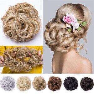 Лихуи 47 цветов, кудрявые шиньон для девочек с резиновой лентой, коричневые, серые синтетические волосы, обруч на грязные конские хвосты