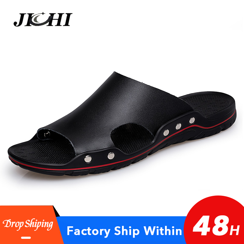 2020 Classic Mens Slippers Summer Genuine Leather Sandals Men Outdoor Casual Lightweight Sandeles For Men Soft Fashion Big Size