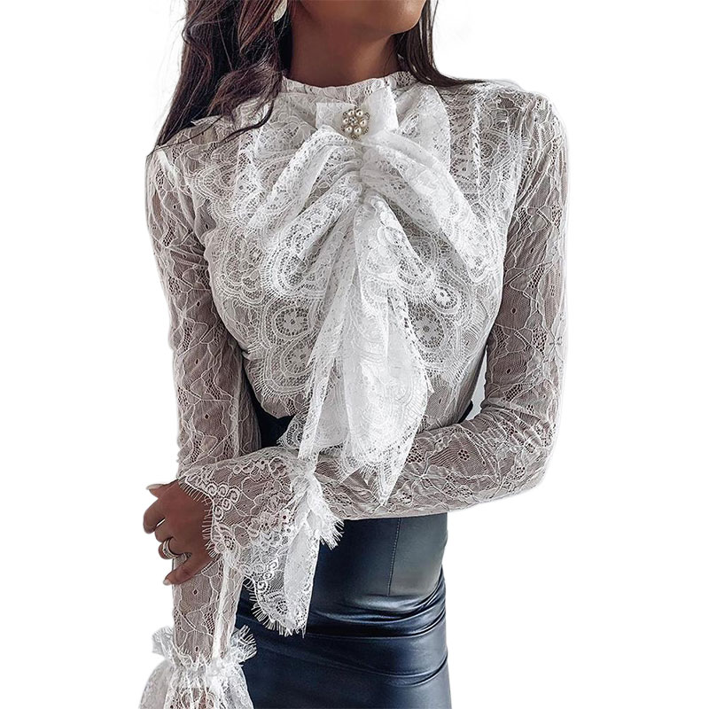 Lace Blouse Elegant Women Shirt Bowknot Long Sleeve Blouse Ladies Tops Shirt Hollow Out Shirts Party Womens Blouses And Tops