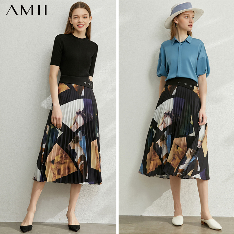 AMII Minimalism Spring Summer Vintage Print Pleated Women Skirt Fashion High Waist Calf-length Dress Female 12070123
