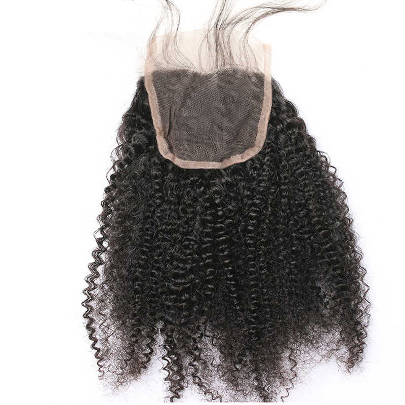 4x4 Brazilian Afro Kinky Curly Closure Human Hair Lace Closure Free/Middle/Part 130% Density Natural Color Remy Lace Closure