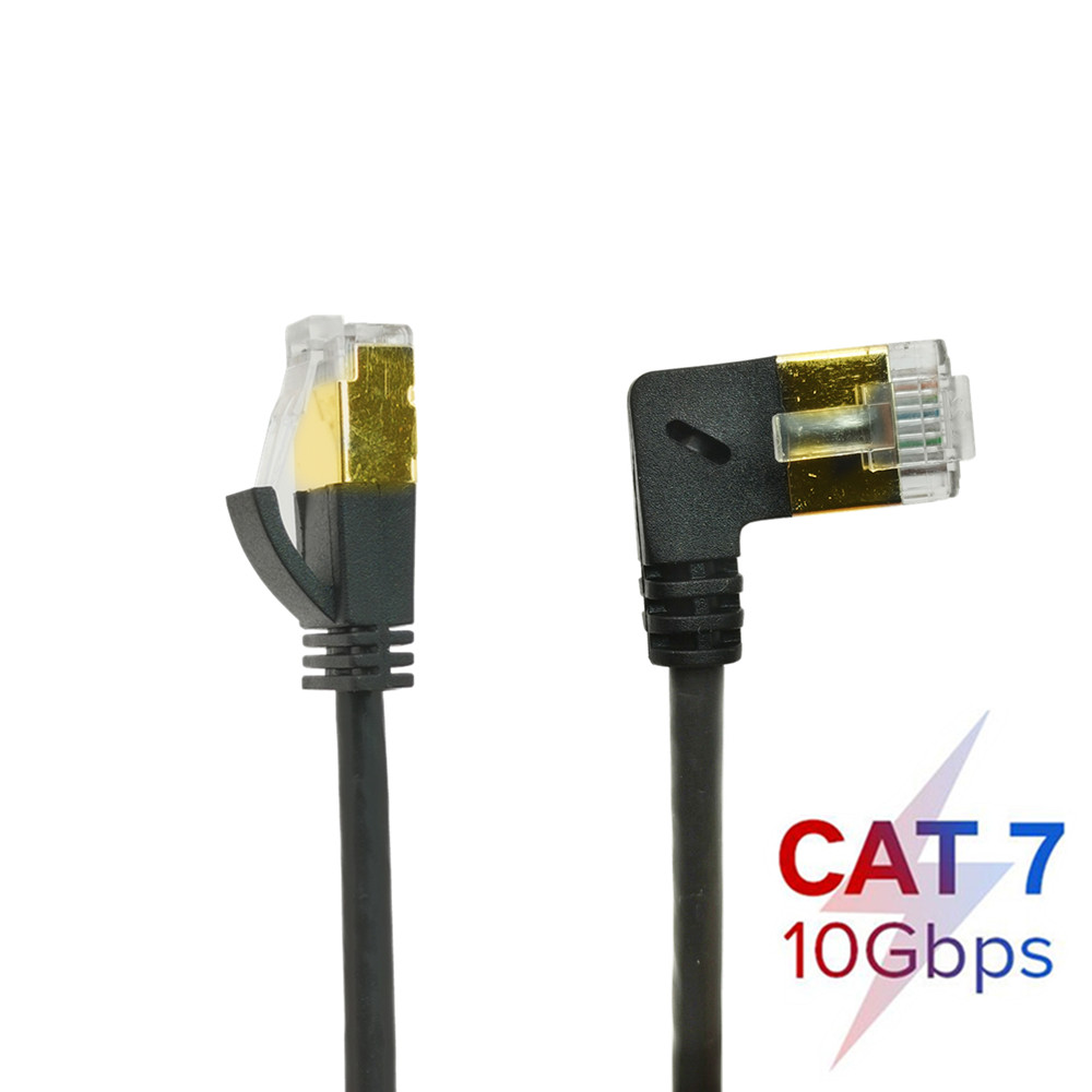4mm OD CAT7 kabel Ethernet RJ45 prawe lewe nawet kąt nachylenia UTP sieci kabel Patch Cord 90 stopni 10 gb/s Cat 7 kable Lan
