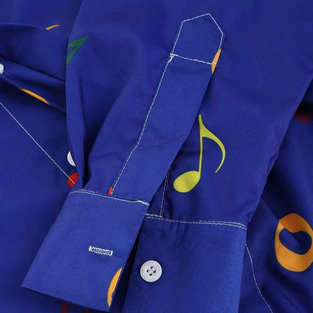 Nieuwigheid Blouse 2019 Mannen Casual Muzieknoot Patroon Casual Lange Mouwen Artistieke Shirt Top Dropshipping 20 Camisa de los hombres