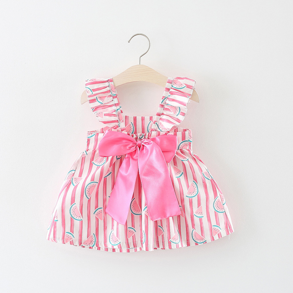 2PCS Toddler Baby Kids Girls Floral Ruched Bow Watermelon Princess Dress+Hat
